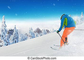 alpes, homme, jeune, ski