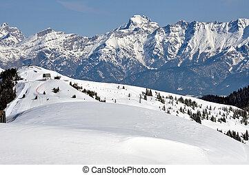 alpes, invierno, zell, recurso, austríaco, ver, esquí