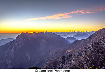 alpes italianos, en, ocaso