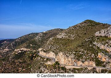 France, mountains of Alpes-Maritimes, Maritime Alps Mediterranean coast landscape, Provence-Alpes-Cote d'Azur region