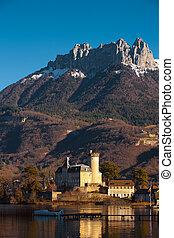 alpes, montaña, castillo, plano de fondo