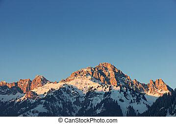 alpes, Montaña,  Tirol, encendido, ocaso, pico, naranja