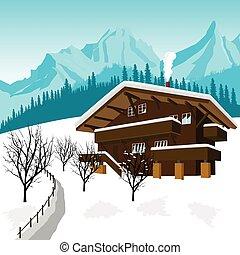 alpes, montañas, chalet, tradicional, alpino