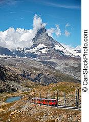 alpes, montagne, ferroviaire, suisse, matterhorn, switzerland., paysage