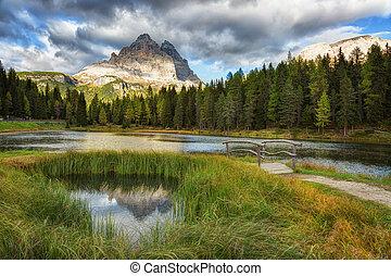 alpes, montagne, landcape, dolomites, reflet, lac, lago, pic...