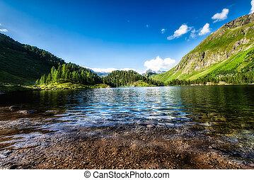 alpes, montagne, petit lac, suisse