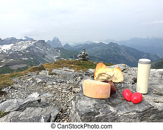 alpes, montagne, pique-nique, sommet, maerchstoeckli, suisse