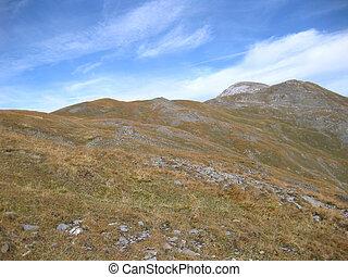 alpes, montagnes, ensoleillé, coloré, automne, suisse, jour