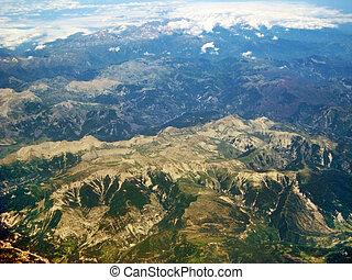 alpes, montagnes, près, colmar, -, vue aérienne