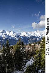 alpes, montanha, arcos, ensolarado, neve, frança francesa, les, vista