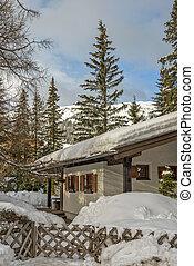 Alpes, montanha, chalé, Inverno