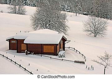 Alpes, montanha, chalé, Itália, madeira, após, nevada, pesado