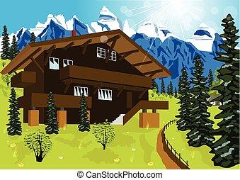 alpes, montanha, chalé, verão, madeira, paisagem rural