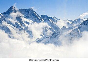 alpes, montanha, jungfraujoch, paisagem