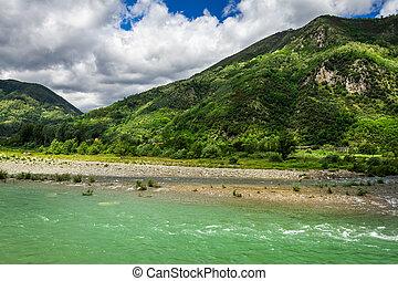 Alpes, montanha, Rio