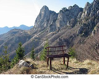 Alpes, montanha, topo, isolado, banco