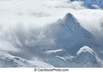 alpes, montanhas, nuvens, inverno, acima