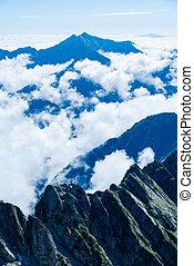 alpes, montanhas, nuvens, mar norte