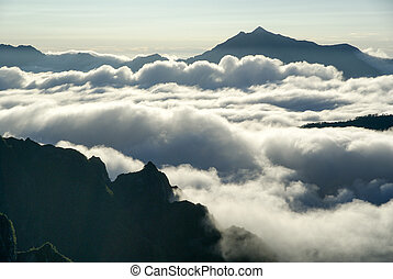 alpes, nuvens, mar, norte