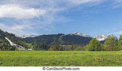 alpes, panorama, bavaria, alemanha, garmisch-partenkirchen