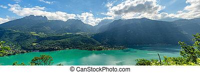 alpes, panorama, lago annecy, francés