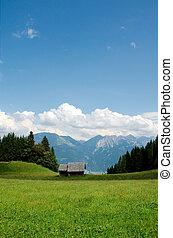 alpes, pequeno, celeiro, austríaco