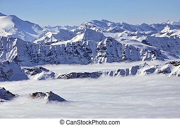 alpes, picos, nuvens, acima, austríaco, inverno