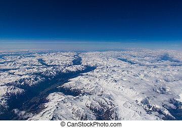 alpes, printemps, sur, haute altitude, vue