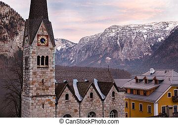 alpes, protestante, salzkammergut, hallstatt, iglesia, austríaco