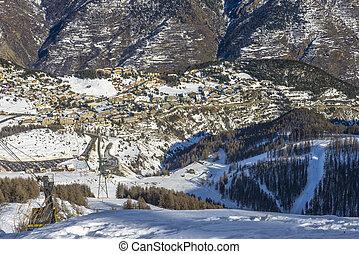 alpes, recurso, auron, francês, esquiando