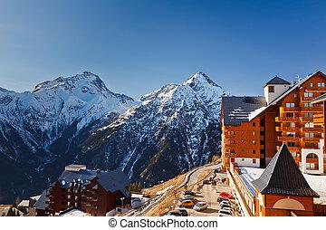 alpes, recurso, esqui, francês