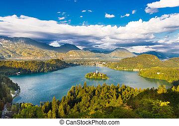 alpes, slovenia., lac, saigné, julian