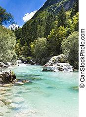 alpes, soca, julian, -, slovénie, rivière