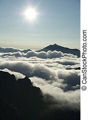 alpes, sol, nuvens, norte