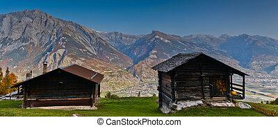 alpes suíços, cabanas