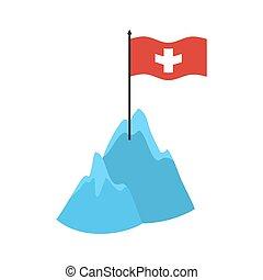 alpes suisses, montagnes, icon., élevé, falaises, et, neige, drapeau suisse