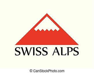 alpes suisses, vecteur, logo, illustration, à, sous-titre, isolé, blanc, arrière-plan.