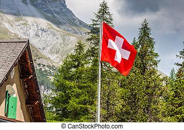 alpes, symbole, -, drapeau suisse, suisse, backgro, national