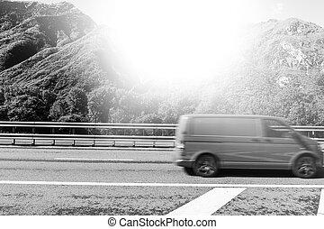 alpes, trafic, autoroute, italien