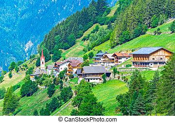 alpes, vila montanha, em, itália