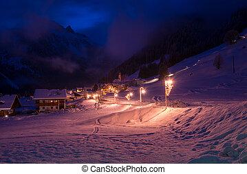 alpes, vila montanha, noturna