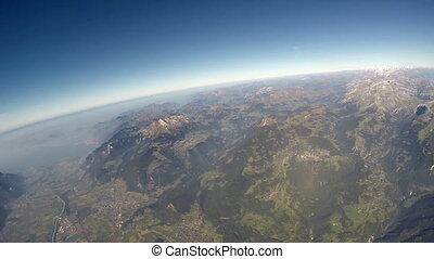 alpes, vue, aérien
