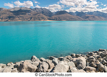 alpes, zealand, souther, lago pukaki, mackenzie, plano de...