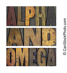 Alpha and Omega - The words ALPHA AND OMEGA isolated and...