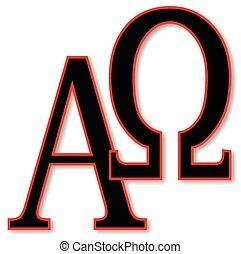 Alpha and Omega - The Alpha - Omega symbols over a white...