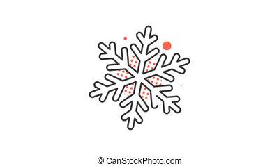 alpha, animé, nouvel an, fait boucle, snowflake., icône, channel., noël, pictogramme
