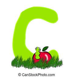 "Alpha Apple Worm C - C, in the alphabet ""Alpha Apple Worm"",..."
