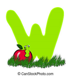 "Alpha Apple Worm W - W, in the alphabet ""Alpha Apple Worm"",..."