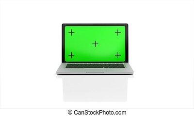 alpha, arrière-plan., animation, vert, ordinateur portable, apparaît, channel., écran, rendre, 4k, blanc, ouvre, moderne, 3d