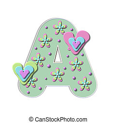 "Alpha Bubble Heart A - A, in the alpha set ""Alpha Bubble..."